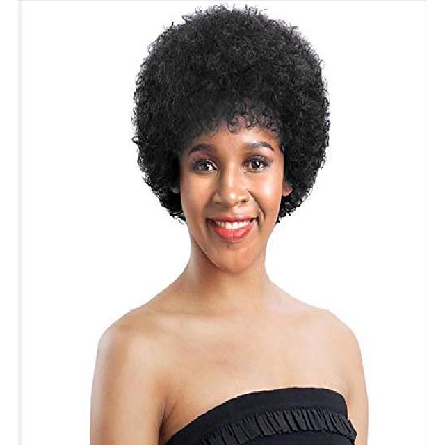 short afro kinky curly wigs for women natural black machine made brazilian virgin wigs