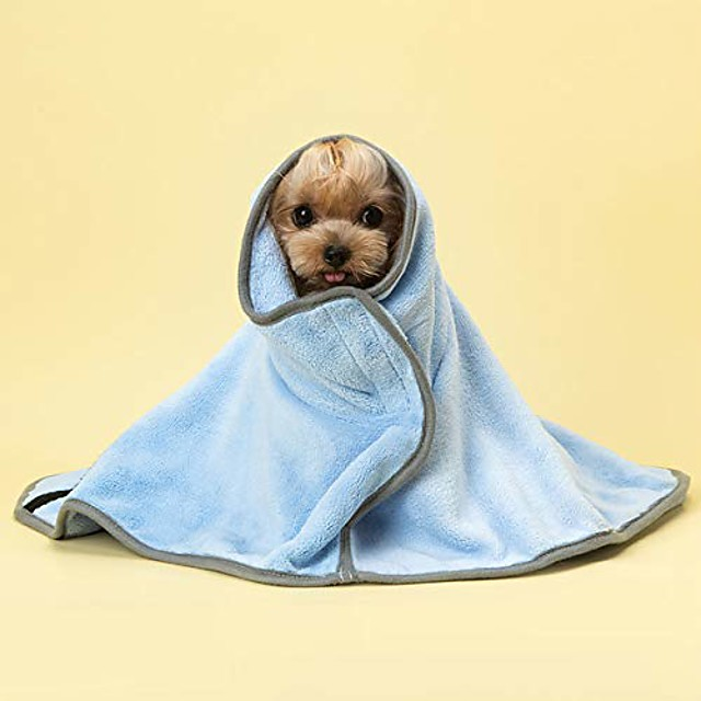 ultra soft pet water absorbing towel dog towelling robe coral velvet puppy bath towel quick drying blanket indoor bathroom supplies,blue,xs