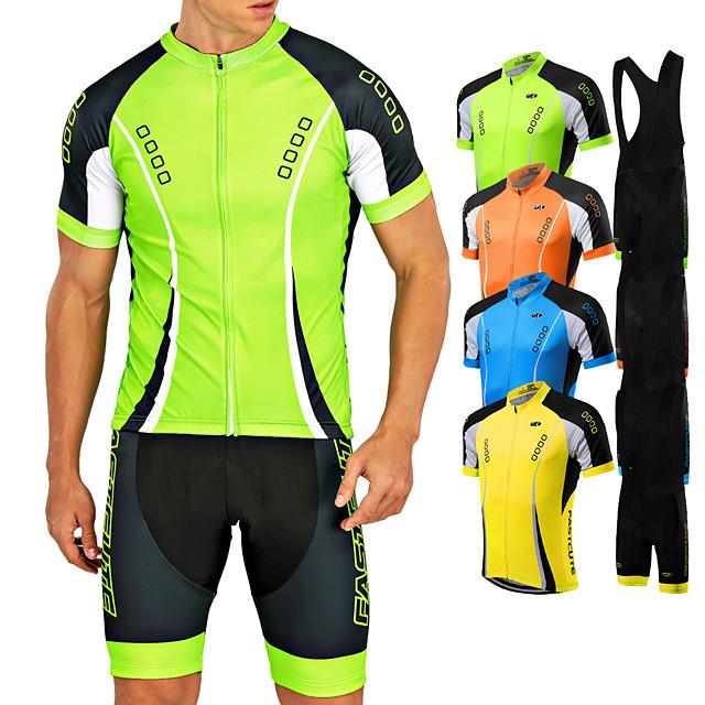 Men/'s Cycling Bib Kit Reflective Green Bike Jersey Padded Bib Shorts Coolmax Set