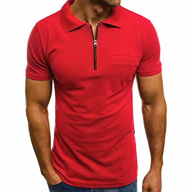 Hombre Camiseta de golf Camiseta de tenis Color sólido Manga Corta Deporte Tops Casual Moda Corte Slim Azul marinero Blanco Gris Ligero