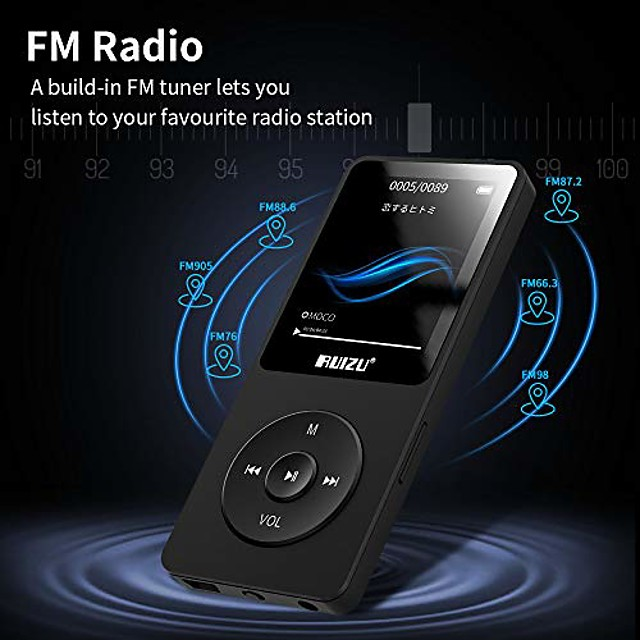 mp3 player, x02 ultra slim music player,long battery life mp3 with fm radio, voice recorder, video play, text reading, 80 hours playback and expandable up to 128 gb (black)