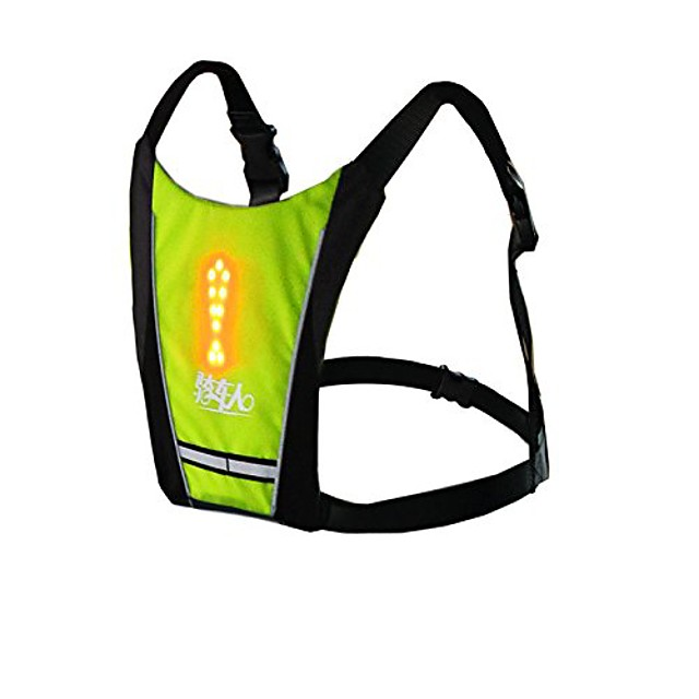 bikeman cycling hiking safety backpack vest with led turn light indicator (yellow)