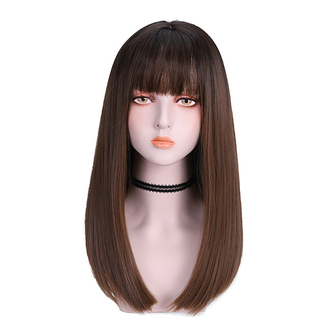 Synthetic Wig Straight With Bangs Wig Medium Length Light Brown Dark Brown Brown Black Synthetic Hair 16 inch Women's Cute Soft Fluffy Dark Brown Brown