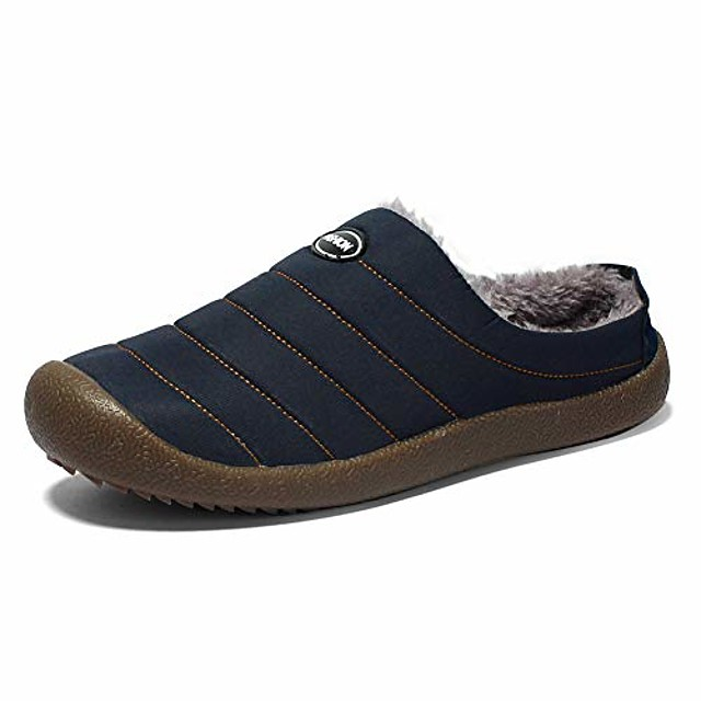 men's house slippers winter slip on clogs indoor outdoor anti-skid shoes plush lining size 11 dark blue