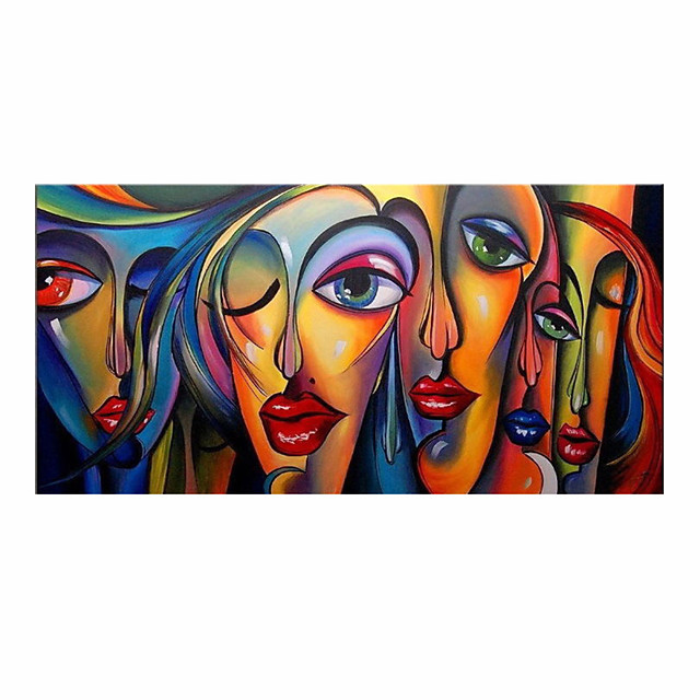 Oil Painting Hand Painted Horizontal People Pop Art Modern Rolled Canvas (No Frame)