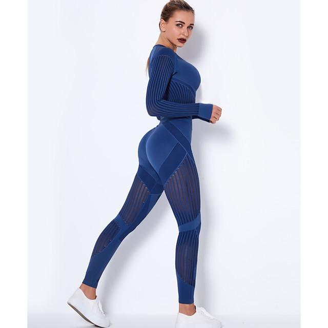 Women's 2pcs Yoga Suit Winter Seamless Thumbhole Mesh Black Burgundy Dark Gray Nylon Yoga Fitness Gym Workout High Waist Cropped Leggings Crop Top Clothing Suit Long Sleeve Sport Activewear Tummy