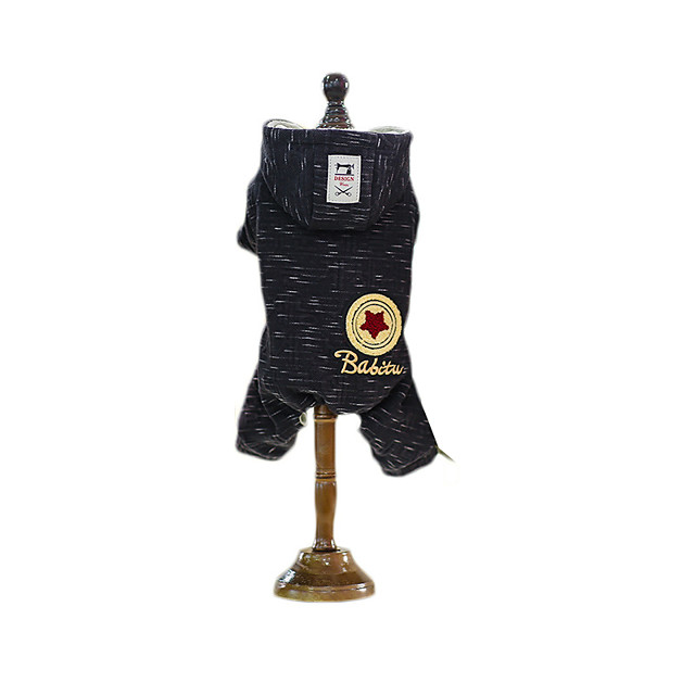 Dog Coat Jumpsuit Stars British Gentle Casual / Daily Winter Dog Clothes Puppy Clothes Dog Outfits Breathable Black Costume for Girl and Boy Dog Fleece S M L XL