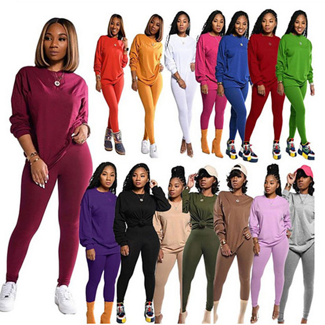 Women's 2 Piece Tracksuit Sweatsuit Casual Athleisure 2pcs Winter Long Sleeve Thermal Warm Breathable Soft Fitness Gym Workout Running Jogging Training Sportswear Solid Colored Normal Sweatshirt