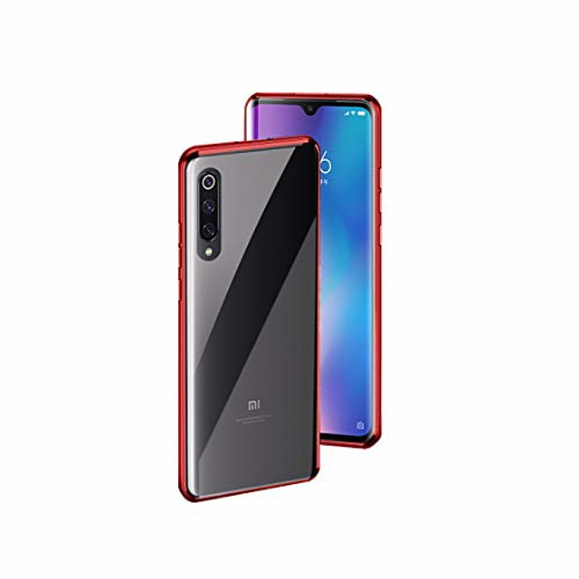 metal magnetic aluminum alloy frame tempered glass phone case for xiaomi mi a3 [6.1 inch] (red)