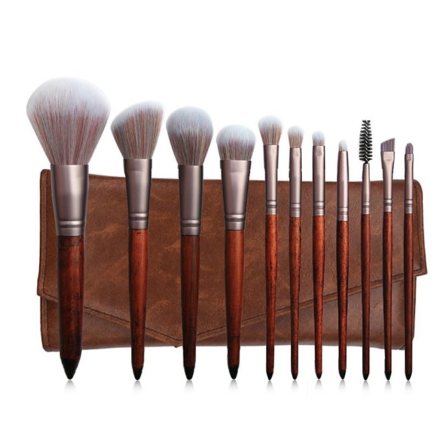New 11 Mahogany Makeup Brush Set Powder Powder Brush Red Blush Brush Makeup Makeup Kit Set Back To Ancient Times