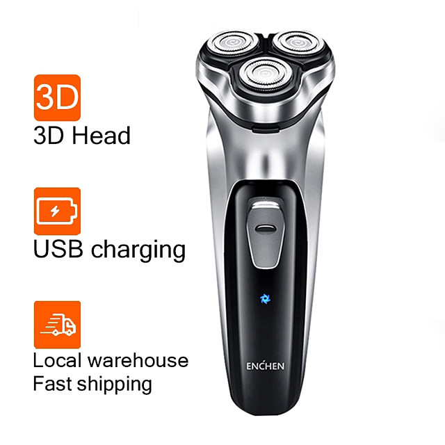 Enchen Electric Shaver Men 3D Type-C USB Rechargeable Razor 3 Blades Portable Beard Trimmer Cutting Machine For Shaving