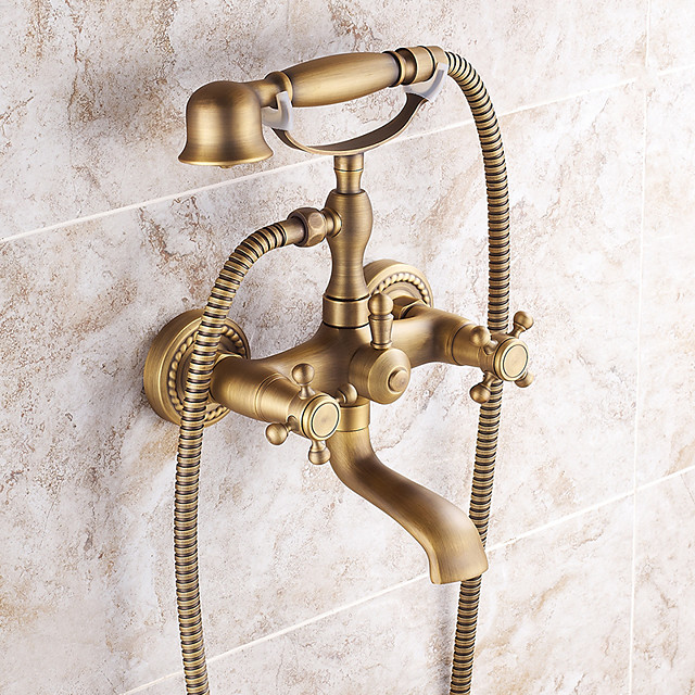 Mount Outside Shower Faucet, AntiqueBrass Electroplated Pull Out Rainfall Hand Held Shower Head System withRain Shower/Handshower/Bodysprays/Drain