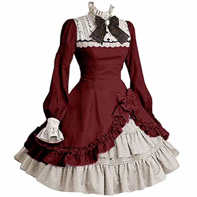 womens bowknot multi layers classic sweet lolita dress medieval vintage frill frock ball gowns dress wine red