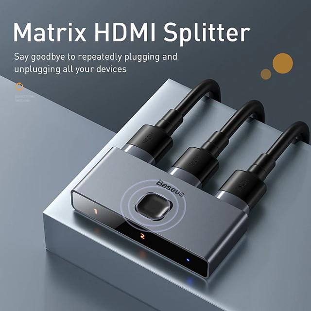 Baseus CAHUB-BC0G Matrix HDMI Splitter (2in1or 1in2) Space Gray