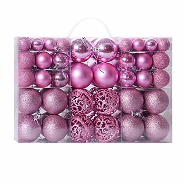100 pcs christmas ball ornaments shatterproof christmas decorations hanging balls for xmas tree wedding party decoration, 3-6cm (pink)