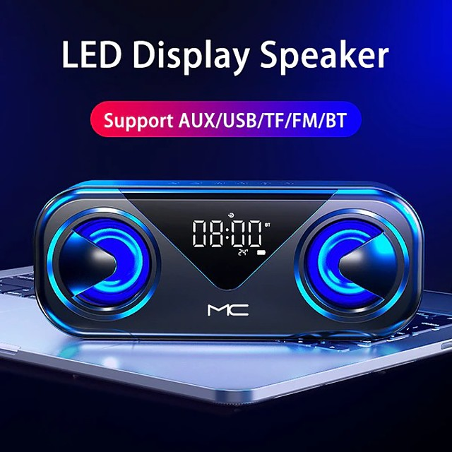 H9 LED Portable Bluetooth Speakers Wireless Stereo Bass Hifi Speaker Support TF Card AUX USB Handsfree With Flash LED Clock