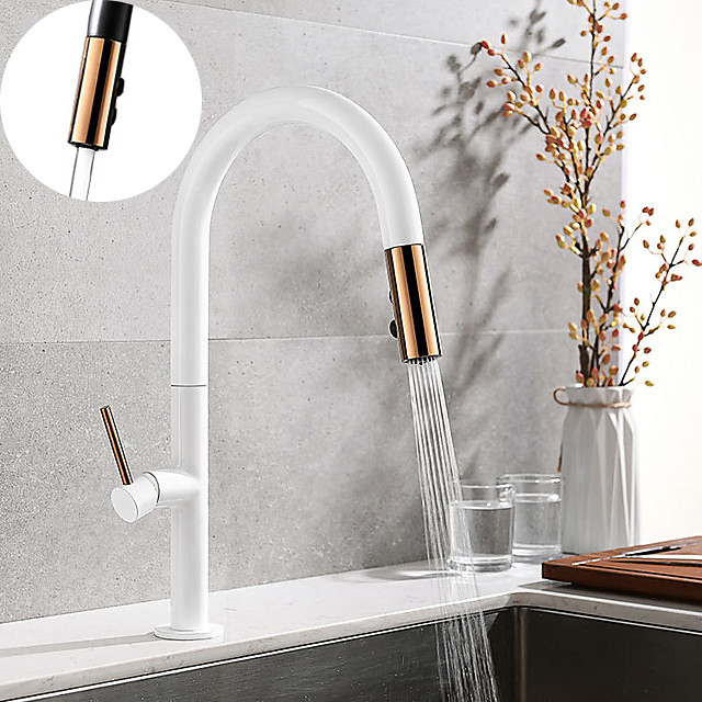 Brass Kitchen Faucet Single Handle One Hole Electroplated / Painted Finishes Pull-out and Free Standing Kitchen Taps with Cold and Hot Water