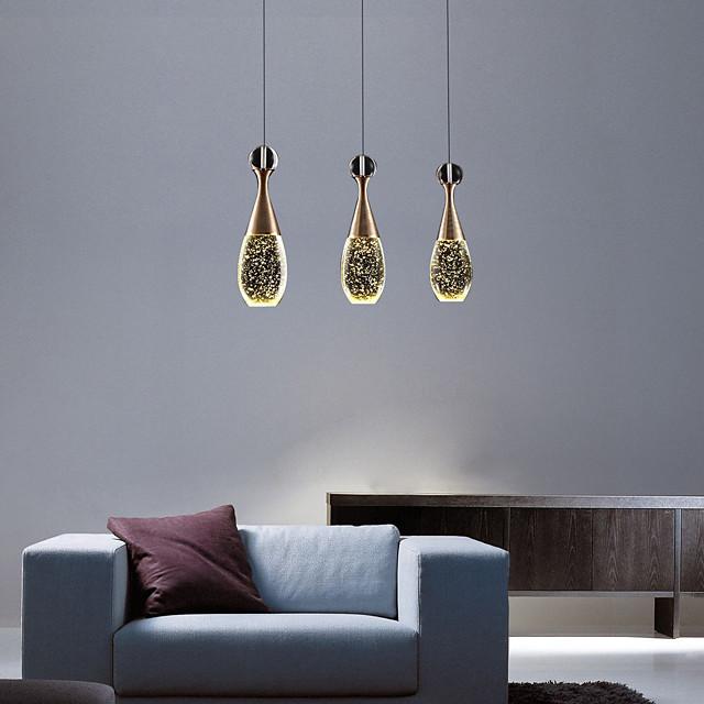 3-Light Cluster Pendant Light Downlight Electroplated Metal Glass Crystal Modern Minimalist Bubble Crystal Column Adjustable Long Aluminum Lampshade