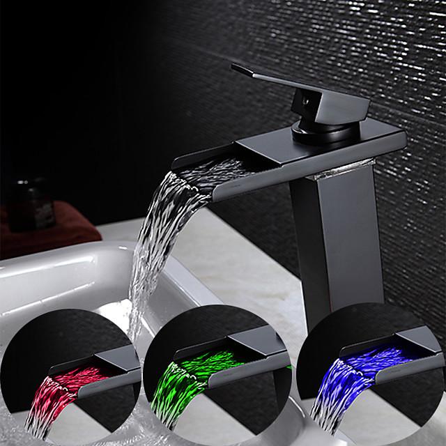 Robinet lavabo - LED / Jet pluie Bronze huilé Set de centre Mitigeur un trouBath Taps