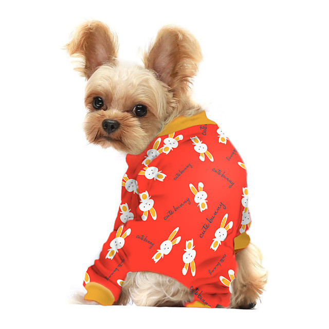 Dog Shirt / T-Shirt Animal Rabbit / Bunny Printed Animals Casual / Daily Dog Clothes Puppy Clothes Dog Outfits Breathable Yellow Red Blue Costume for Girl and Boy Dog Polyster S M L XL