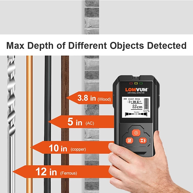 Metal Detector Backlit Black AC Wood Finder Cable Wires Depth TrackerUndeground Sturs Wall Scanner LCD HD Display Beep