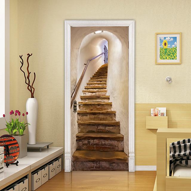 3D Stair Door Self-adhesive Creative Door Stickers Living Room Decoration Home Waterproof Wall Stickers