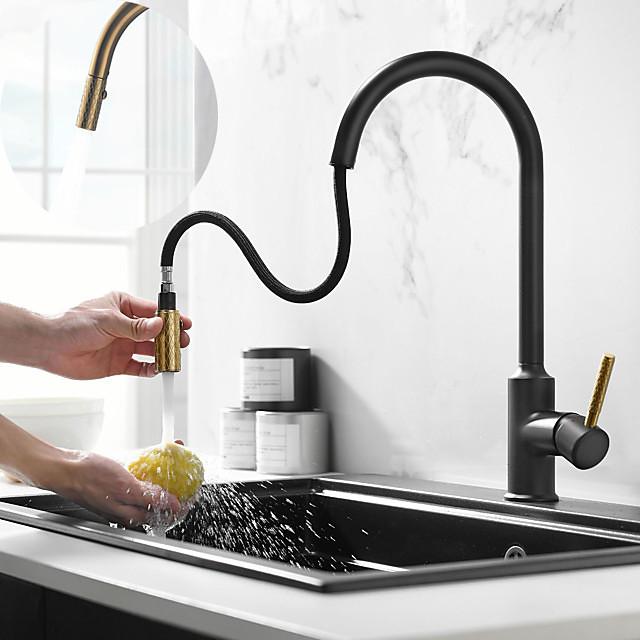 حنفية المطبخ - التعامل مع واحد ثقب واحد Ti-PVD / طلاء ملون سحب التدريجي / سحب إلى أسفل / طويل القامة / عالية القوس يقف حر معاصر / أنتيك Kitchen Taps