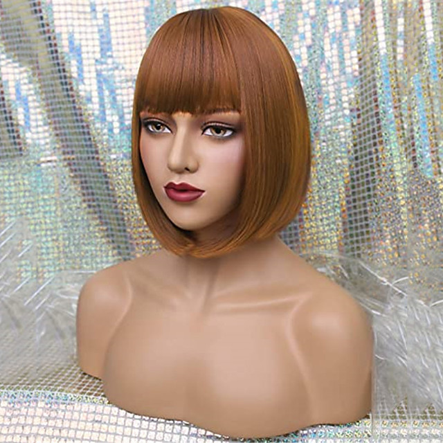 Wig with bangs Synthetic Hair for White Black Women Cosplay 12 Inch