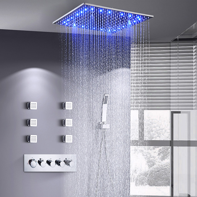 16 Inch Shower Faucets Sets Complete with Spray Rainfall Shower Head Ceiling Mounted LED 6 Body Jet Message Shower Head System(Contain Shower Faucet Rough-in Valve Body and Trim)