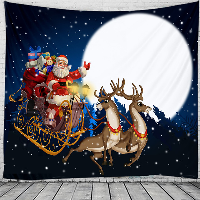 Christmas Santa Claus Holiday Party Wall Tapestry Art Decor Blanket Curtain Picnic Tablecloth Hanging Home Bedroom Living Room Dorm Decoration Christmas Tree Gift Fireplace