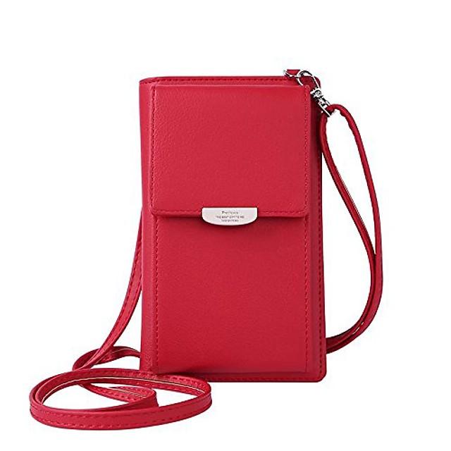fashion wallet women mini crossbody bag cell phone pouch small handbag card holder coin purse girls shoulder bag (red)