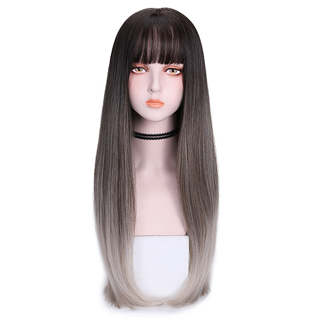 Synthetic Wig Straight With Bangs Wig Long Grey Green Purple Synthetic Hair 26 inch Women's Cool Color Gradient Dark Gray Purple
