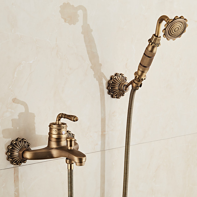 Antique Brass Bathtub Faucet,Retro Wall Installation Ceramic Valve Bath Rain Shower Mixer Taps with Hot and Cold Switch
