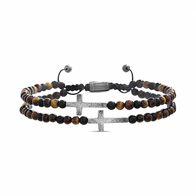 cross station double strand brown beaded adjustable bracelet for men (brown), one size (smbs606861ox-tgm)
