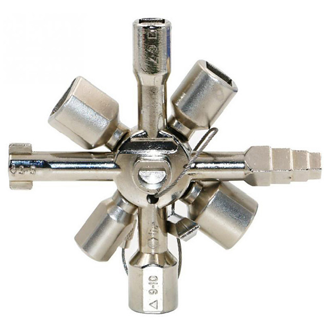 Multi function electric control cabinet triangle key wrench elevator water meter valve 10 in one cross key