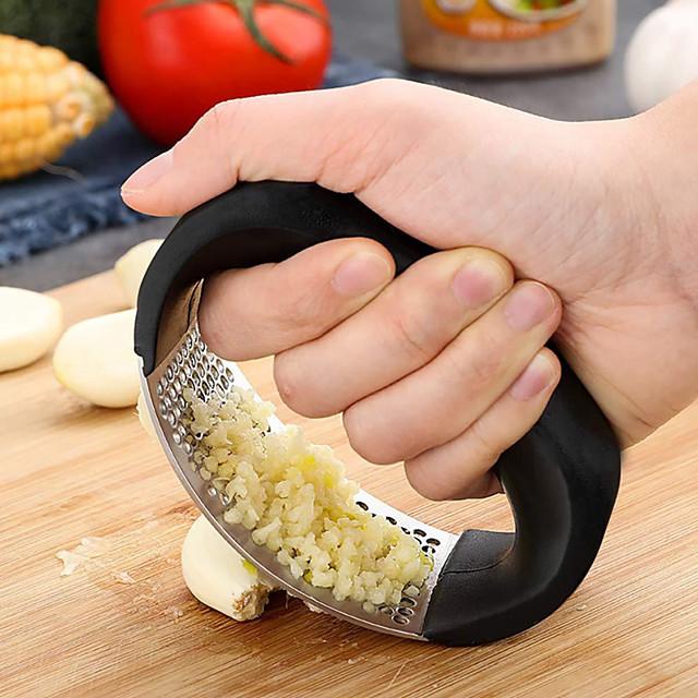 Stainless Steel Garlic Press Garlic Squeezer Grinder Chopper Kitchen Gadget with Handle