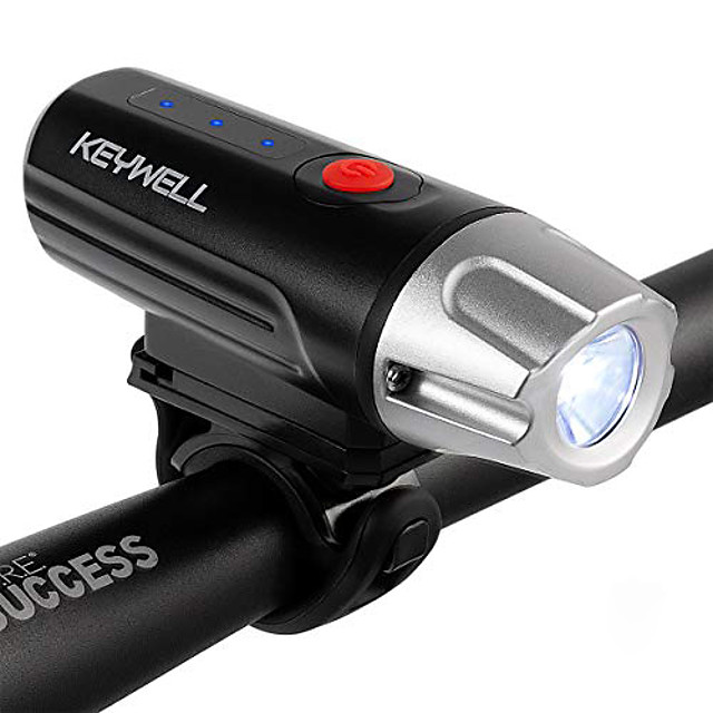 usb rechargeable bike headlight-super bright led front bicycle light with battery indicator, long runtime, ipx5 water resistant for cycling safety flashlight (black)
