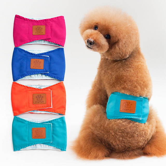 Dog Dog Physiological Menstrual Pants Pet Underwear Diapers Solid Colored Cartoon Ordinary Adorable Casual / Daily Dog Clothes Puppy Clothes Dog Outfits Breathable Blue Pink Orange Costume for Girl