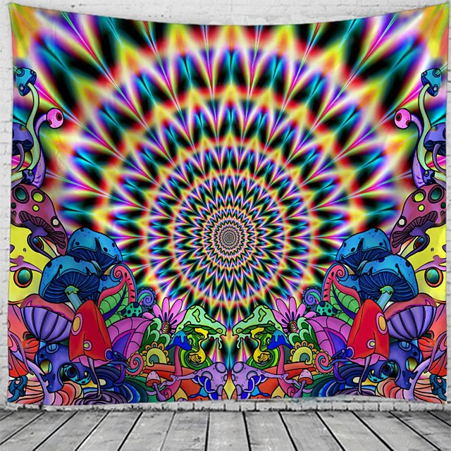 Psychedelic Abstract Wall Tapestry Art Decor Blanket Curtain Hanging Home Bedroom Living Room Decoration Polyester Hippie Mushroom Sunshine Landscape