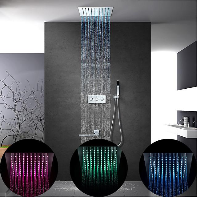 Shower Faucet Set - Rain Shower Contemporary Chrome Wall Mounted Brass Valve Bath Shower Mixer Taps