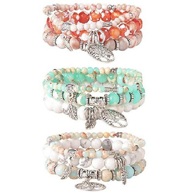 3 set tree beaded bracelet for women couple friends bracelet natural stone healing yoga bracelet charm chakra bracelet set
