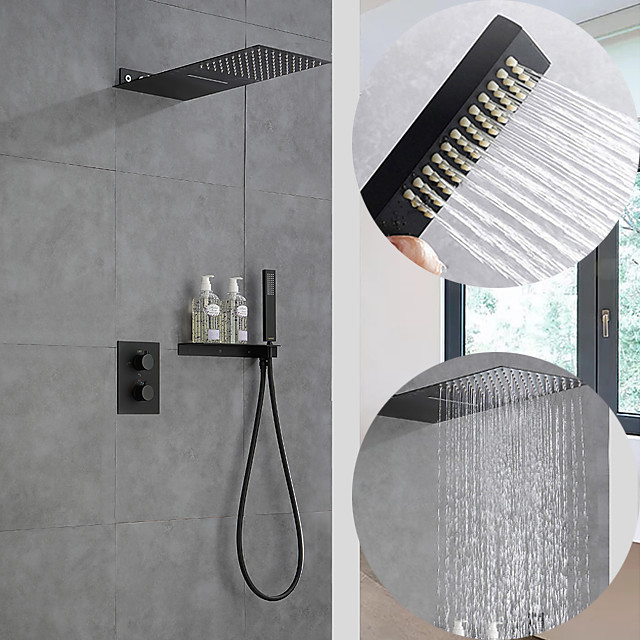 550*230 Matte Black Shower Faucets Sets Complete with Solid Brass Shower Head and Handshower Ceiling Mounted Included Rainfall Shower / Handshower / Waterfall / Multi Spray Shower