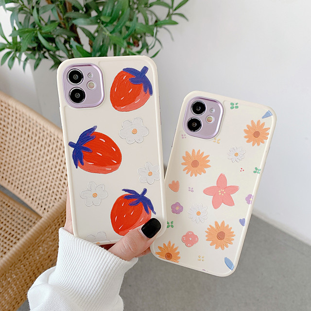 Case For Apple iPhone 12 / iPhone 11 / iPhone 12 Pro Max Shockproof Back Cover Cartoon / Flower TPU
