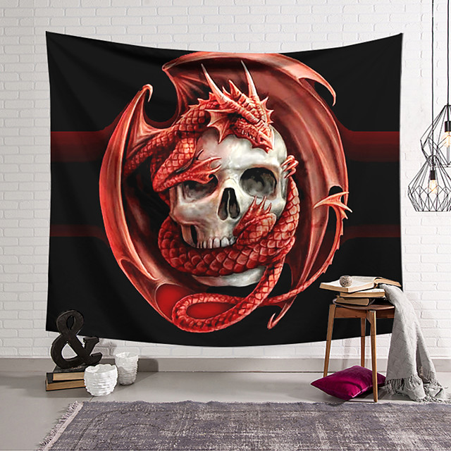 Wall Tapestry Art Decor Blanket Curtain Hanging Home Bedroom Living Room Decoration Polyester Fiber Skull Skull Flying Dragon Lanting Design