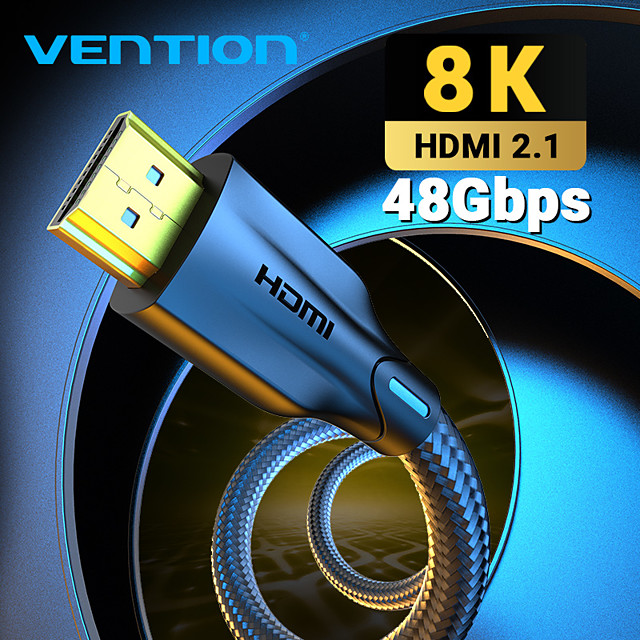 Vention HDMI-compatible Cable HDMI-compatible 2.1 Cable 8K@60Hz 4K@120Hz Ultra High Speed 48Gbps for PS4 Mi TV Box Splitter Digital HDR HDMI-compatible 2.1 Cable 0.5m