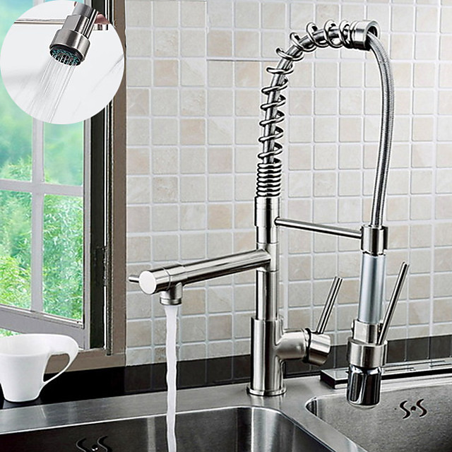 Brass Kitchen Faucet,Chrome Deck Mounted Pullout Spray Contemporary Kitchen Taps with Hot and Cold Switch