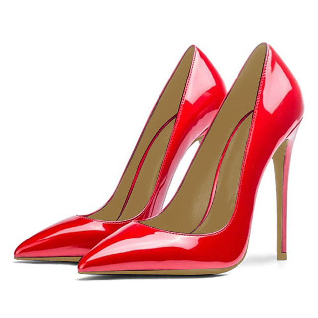 Women's Heels Onlymake High Heel Stiletto Heel Pumps Pointed Toe Business Basic Minimalism Party & Evening Office & Career Patent Leather Solid Colored Red Silver