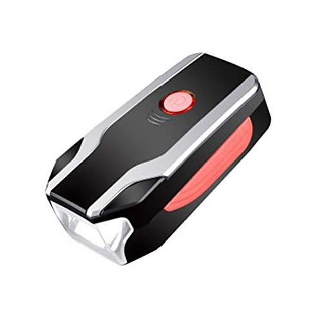 bicycle light with horn, rechargeable bicycle headlight and horn with anti-theft alarm function - three brightness levels adjustable - ipx4 waterproof - usb battery dual power (red)