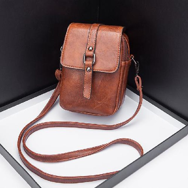 womens small leather crossbody phone bag, shoulder bag cell phone purse wallet, with usb/earphone hole