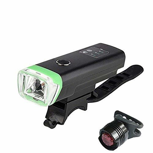 bike lights set, 1200 mah, induction bike light, front light, usb rechargeable, smart headlight with horn, high lumen, led bike light (color: green and red, a, size: free)